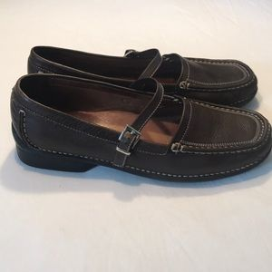 Hush Puppies Sz 11M Brown Leather Mary Jane Flats